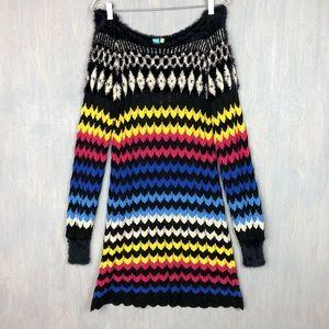 NWT Farm Rio modern chevron knit sweater dress